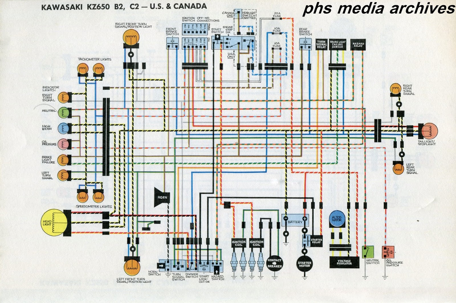 Tech Series Kawasaki Kz650 Wiring Diagrams Phscollectorcarworld Type 181 Diagram The Above Chart Covers North American B1 Bikes For United States And Canadaa Nice Feature Here Is Wires Elements Are In Color Easier