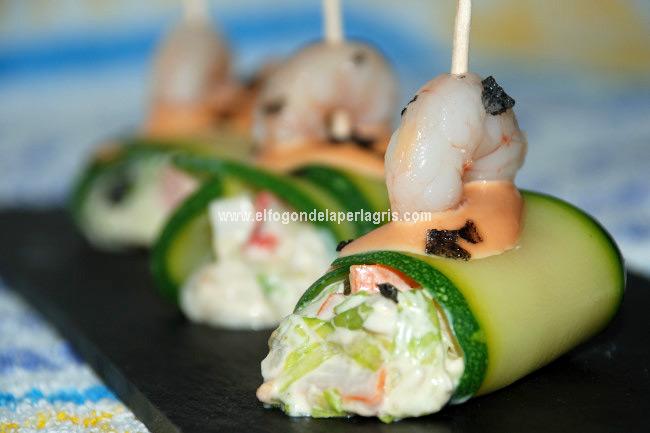 Canelones de calabacín rellenos de salpicón de marisco