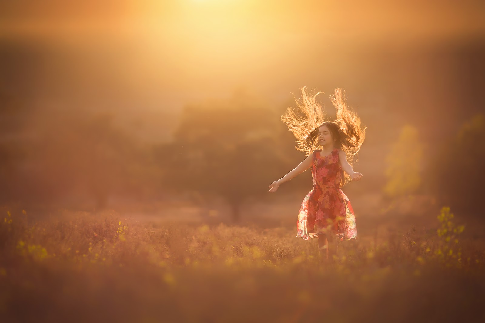 Canon golden hour fine art portrait of a little asian girl with jumping hair and catching sunlight by willie kers