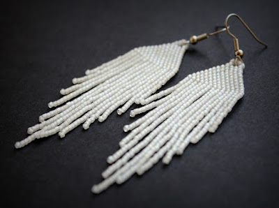 авторские украшения в стиле бохо купить серьги из белого бисера ру