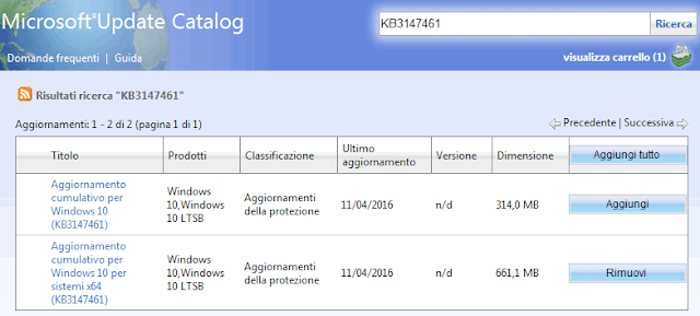 Microsoft Update Catalog aggiungere aggiornamento cumulativo Windows 10