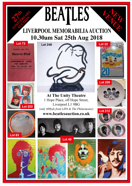 Full 2018 Liverpool Beatles Auction Catalogue Now Available For Download.