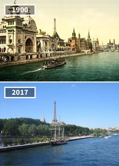 Antes y después Ribera del Sena, París