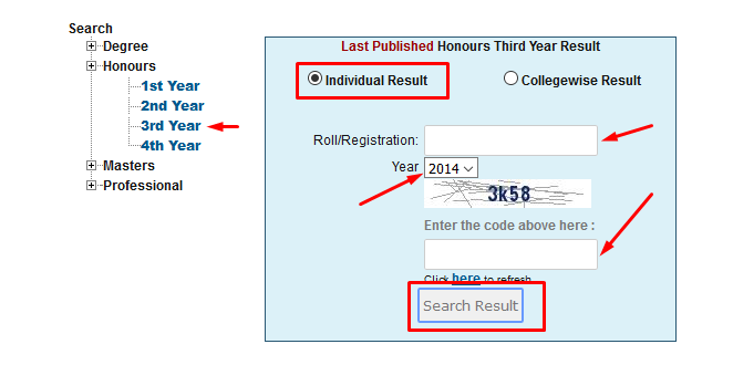 How to get honours 3rd year result 2017 via online