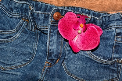 Women's Blue Jeans with Pink Flower in Pocket