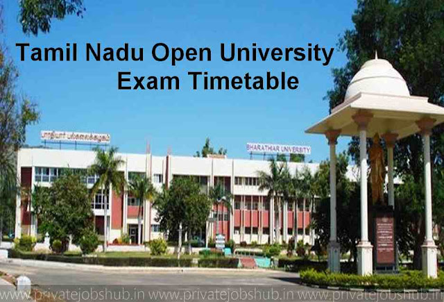 Tamil Nadu Open University Exam Timetable