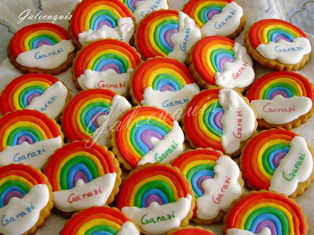 Galletas glasa arcoíris