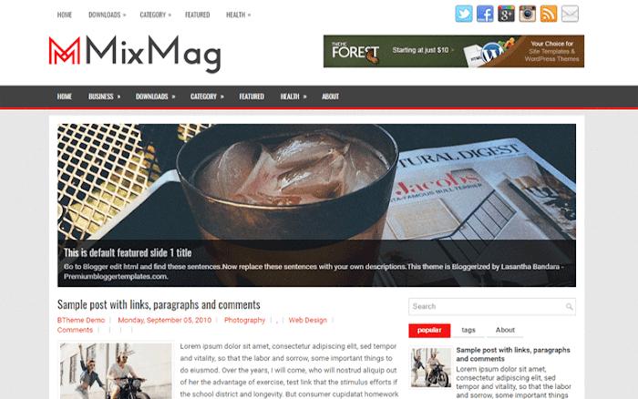 Mixmag Blogger template Responsive