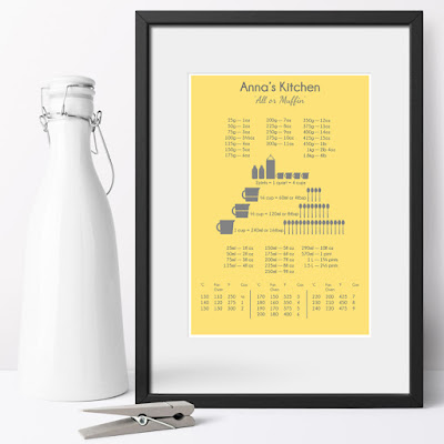 Personalised Cook's Conversion Chart | temperature, weight, liquid conversions | gift for cook baker from PhotoFairytales