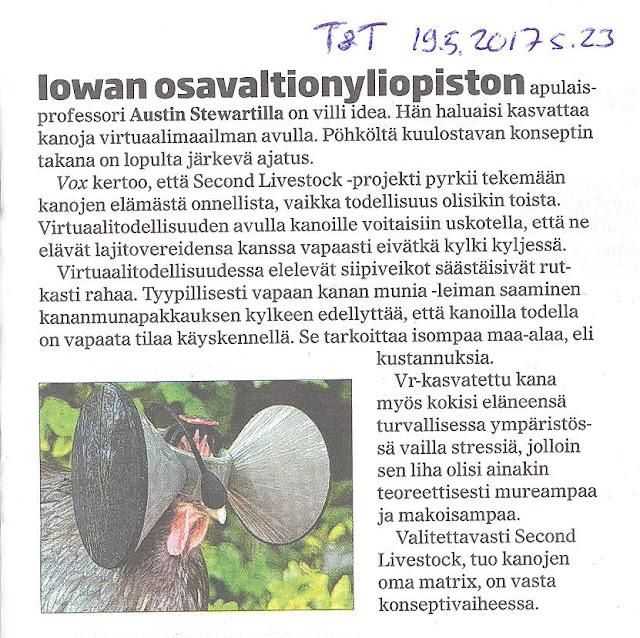 Tuohimutkan kanala Tekniikka & Talous 19.5.2017 (paperilehti) Kanojen virtuaalimaailma