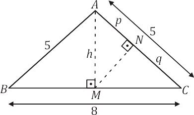 Exemplo 3 - Triângulo retângulo - relações métricas - semelhanças
