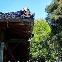 大正時代の木造日本建築の銅雨樋の軒樋の出隅部分の横から