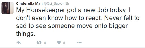 Eyaa. OAP Osi Suave's housekeeper gets better job and he's somehow sad