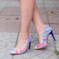 Pantofi dama Frea multicolori cu toc • modlet
