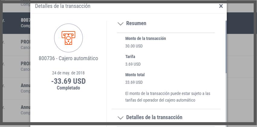 Payoneer costos por retiros en cajeros locales Ecuador