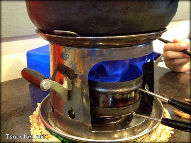 Blue flames heating up our hot pot