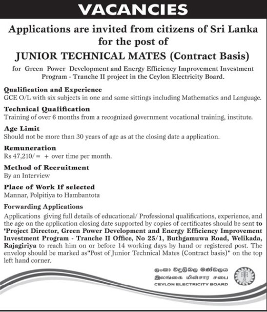 government job sri lanka: Vacancies At Ceylon Electricity Board