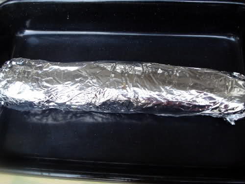 stuffed sirloin rolled in the tin foil