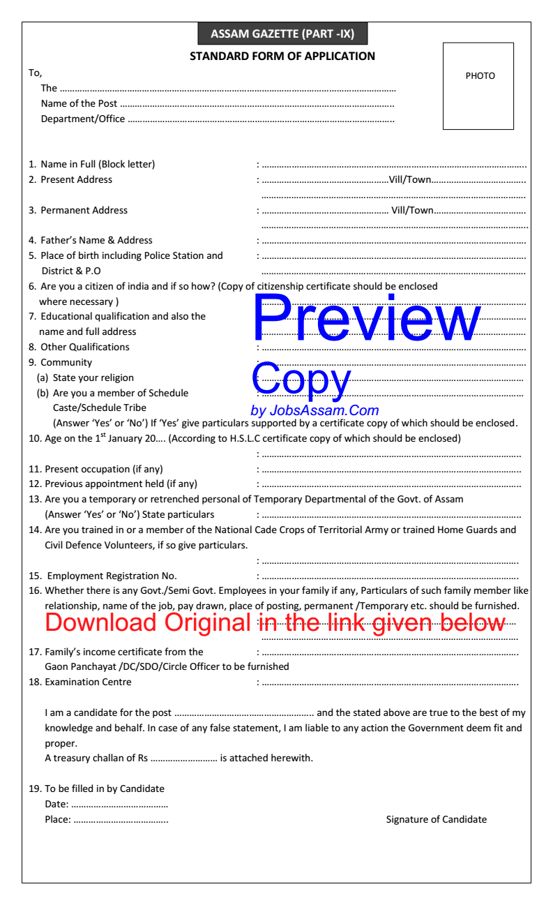 Assam Government Standard Form of Application (Assam Gazette Part IX)