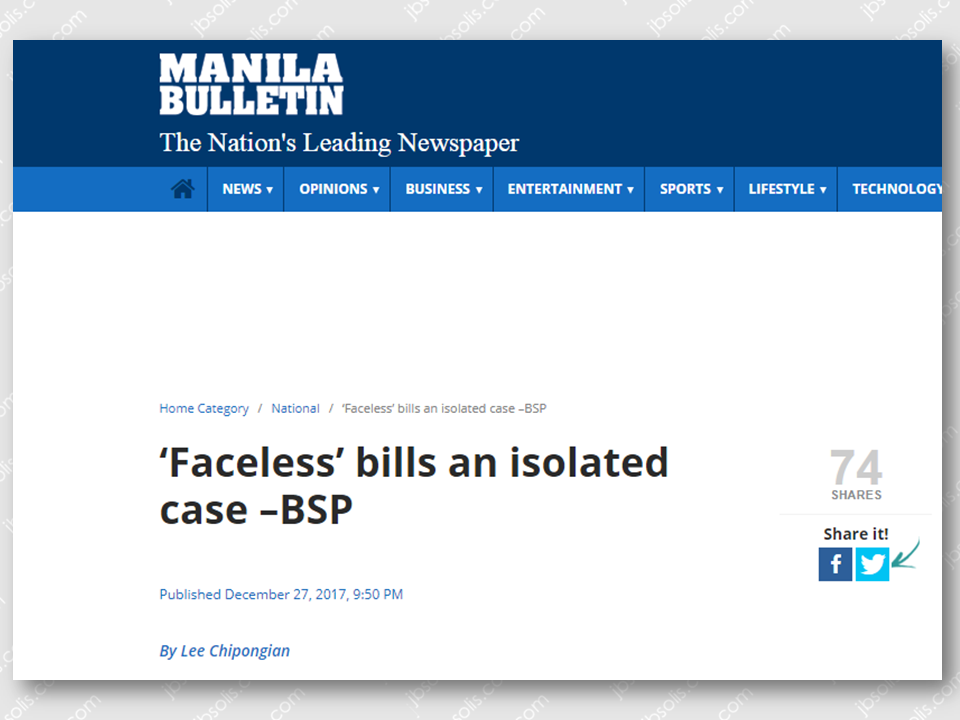 "Investigation is underway regarding the ""faceless"" one hundred peso bill a netizen claimed to be withdrawn in an ATM machine on Christmas day. However, Bangko Sentral ng Pilipinas (BSP) Governor Nestor A. Espenilla Jr. yesterday said the ""faceless""  peso bills seemed to be an isolated case.   Based on initial findings conducted by the Central Bank, the so-called ""faceless"" bills is not a widespread incident. ""It's clearly looking like an isolated incident at this point,"" said Espenilla, after confirming that they are currently investigating this issue.  It was reported that the Bank of the Philippine Islands (BPI) ATM in its Libis branch had dispensed P400 worth of ""faceless"" banknotes. The withdrawal allegedly was transacted on December 25, Christmas Day.              Sponsored Links  Owen Camayo, BPI spokesman said they have asked the BSP to verify the ""faceless"" P100 bills. ""Let's wait for the BSP to announce their findings,"" he said. ""On our part, we are conducting our own investigation on the matter and validating the concerns"" of our client-depositor,"" he said.  The news about the ""faceless bills"" went viral after it was posted on Facebook by a certain Earla Anne Yehey on Christmas day. The post was a photo of four P100-bills without the face of President Manuel Roxas.  Source:Manila Bulletin     Advertisement  Read More:                     ©2017 THOUGHTSKOTO"
