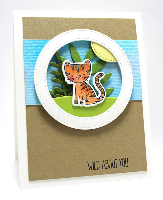 Wild About You Card by Jody Morrow featuring the Sweet Safari stamp set and Die-namics, and the Snow Drifts, Wild Greenery, and Stitched Circle Frames Die-namics #mftstamps