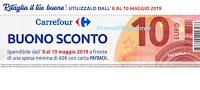 Logo Buono sconto da Ritagliare da 10€ per Carrefour: cerca il volantino!