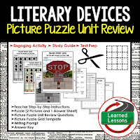English, Literary Devices, Picture Puzzle, Test Prep, Test Review, Study Guide