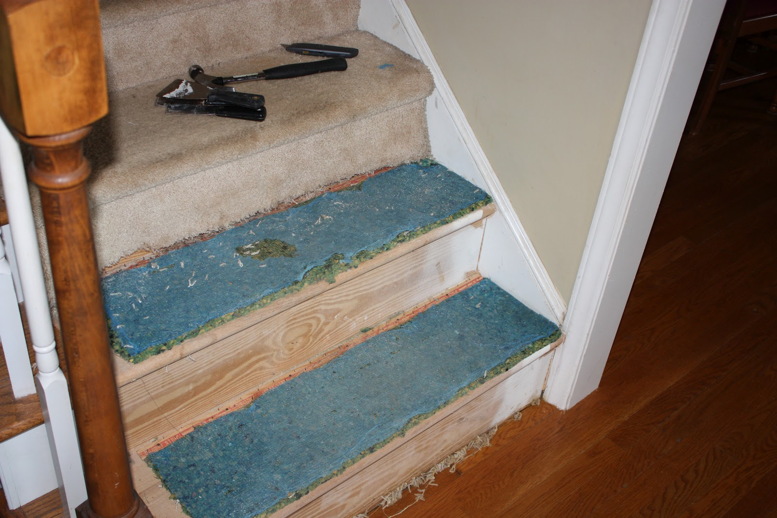 ... Up And Down The Stairs, With All The Stains And Spills. Finally After  The New Year And With All Decoration Put Up. I Started Taking The Carpet Off .