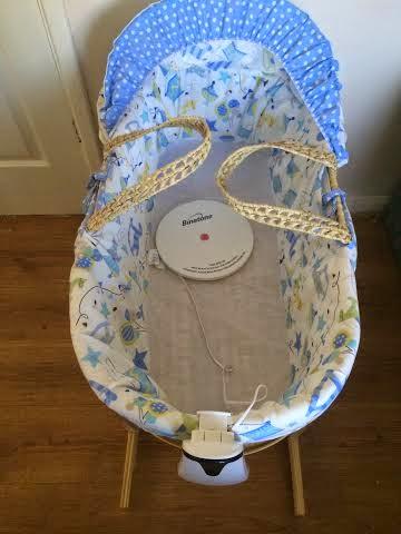 Babysense sensor set up in a moses basket