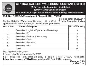 CRWC Recruitment 2017