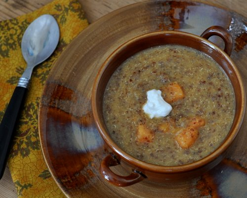 Sweet Potato Soup with Quinoa & Coconut Milk ♥ AVeggieVenture.com, rave reviews.