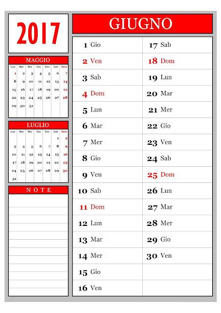 Calendario mensile - Giugno 2017
