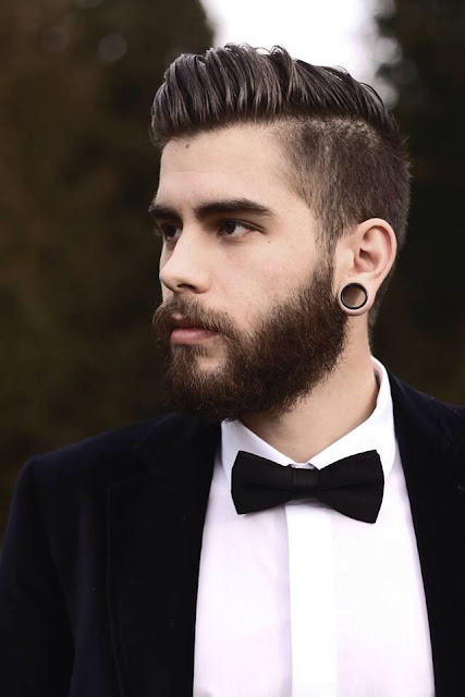 Man's sexy hair style is neat and elegant