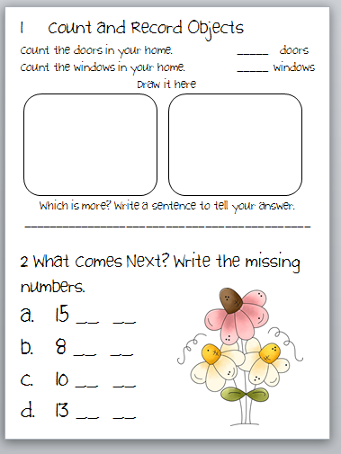 Classroom Freebies Too: Kindergarten Common Core Activity Page