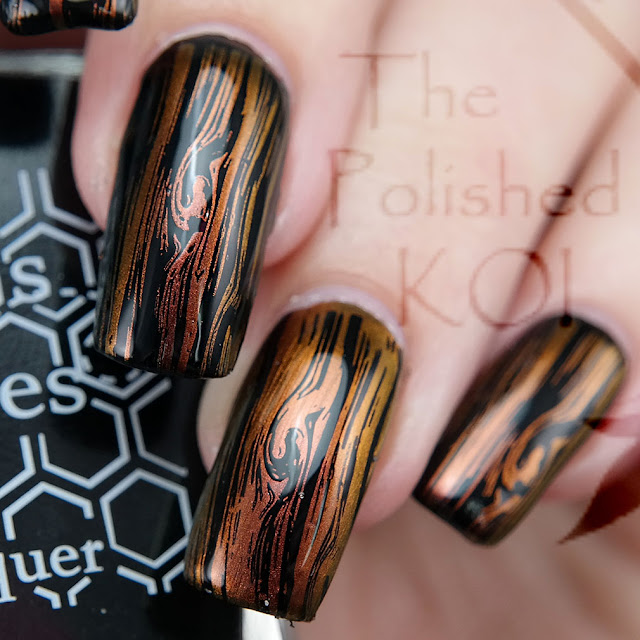 Bee's Knees Lacquer Void and I Am Yours; wood grain nail art