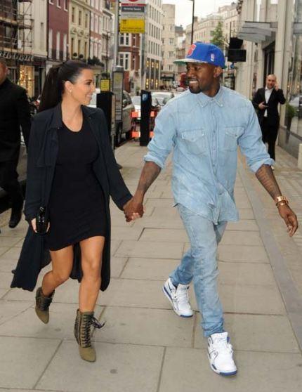 86b6c40e99b1ca Kanye West Rocking Nike Air Flight  89  True Blue  Sneakers W  Kim  Kardashian
