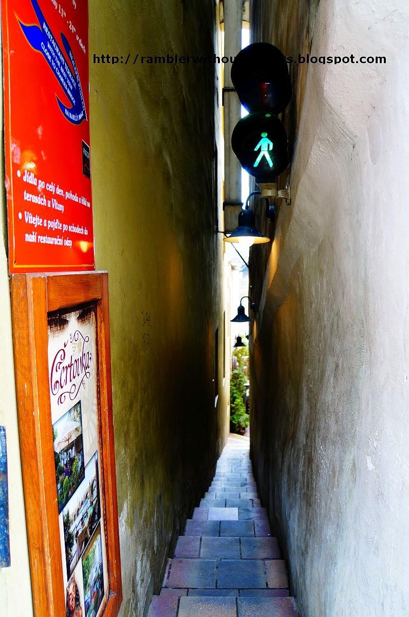 Staircase leading down to Cerovka Restaurant, Prague