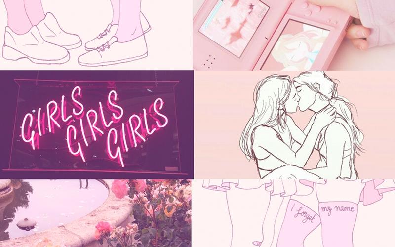 Descrição: Capa com montagem de 6 imagens. A primeira é um desenho de 2 sapatos femininos frente a frente, ao seu lado um nintendo ds rosa, na segunda linha uma placa neon escrito GIRLS GIRLS GIRLS, ao lado o desenho de sua garotas se beijando, embaixo um chafariz com flores ao redor, e outro desenho mostrando as pernas de duas garotas (a parte das coxas) de saias frente a frente. Tudo em tons de rosa da bandeira lésbica