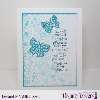 Divinity Designs Stamp Set: Peach Branch, Mixed Media Stencils: Petals, Custom Dies: Bitty Butterflies, Pierced Rectangles