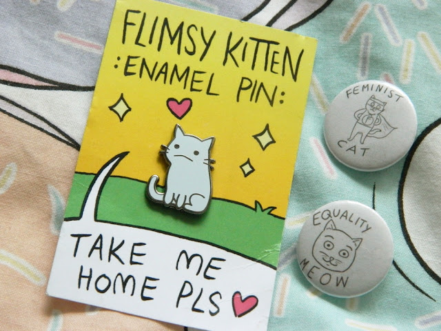 Cat Pin Badge, Cat Enamel Pin, Kitty Pin Badge, Flimsy Kitten,