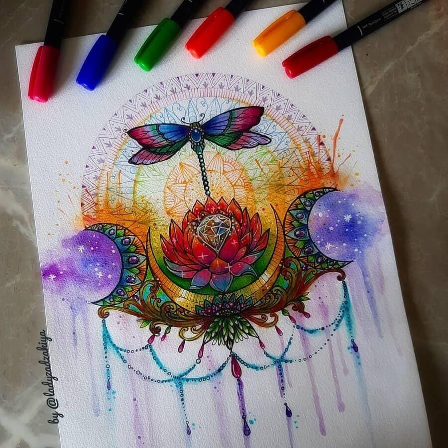 11-Dragonfly and Lotus-Anugrah-Momof-Mandala-Art-www-designstack-co