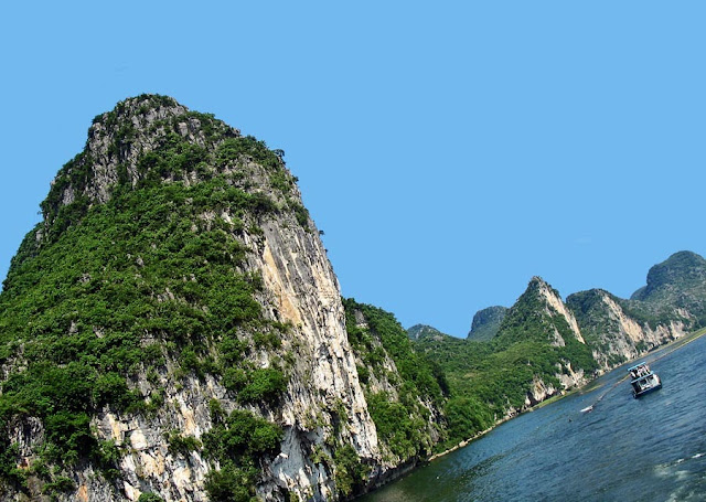 close up of the rocky hills on the River Li in China