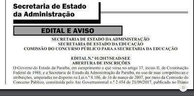 Edital do concurso da Educação na Paraíba é publicado no Diário Oficial e oferece 1 mil vagas. Veja!