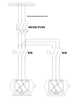 Rangkaian Sistem kontrol Motor listrik 3 fasa hidup dan mati bergantian. Mari buat