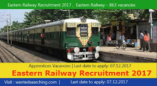 Eastern Railway Recruitment 2017 ,  Eastern Railway – 863 vacancies Notification for Apprentices Vacancies | Last date to apply: 07.12.2017