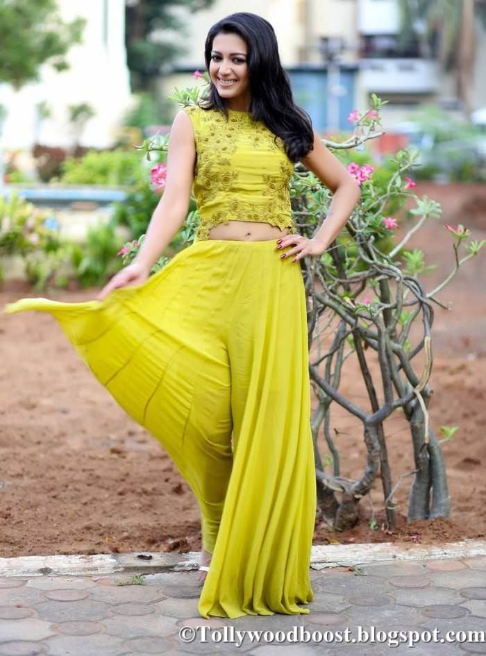 Telugu Girl Catherine Tresa Photo Shoot In Lemon Yellow Dress