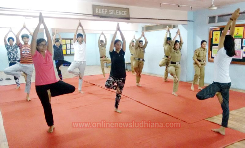 NCC students doing Yoga during International Yoga Day celebrations at BCM School