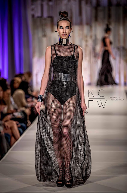 Morgan Pashen runway model on the runway wearing YORO & Barbara Bultman