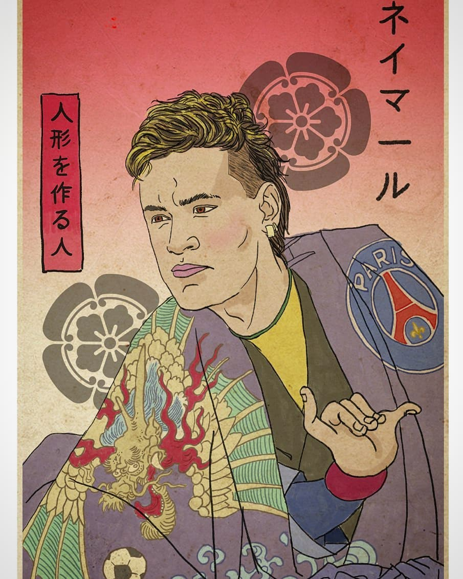 Neymar depicted as Samurai warrior by Italian artist Pupazzaro