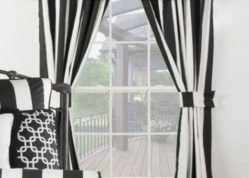 black and white horizontal striped curtains green